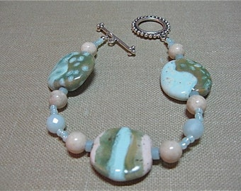 Pale Ocean Kazuri Bead Bracelet - B100