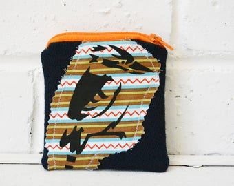Kookaburra bird Screen printed Small Orange Zipper Pouch. Card holder. Coin Purse. Change Wallet Holder. One of a kind Gift.