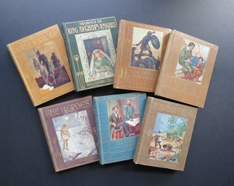 """Antique Children's Books // Set of Seven Early 1900's """"Told to the Children"""" Classic Adaptations Small Decorative Books Illustrated Covers"""