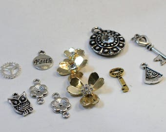 Assorted Gold and Silver Plated Charms, Owl, Flowers, Key, Watermelon, Faith
