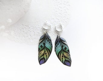 Peacock earrings Feather jewelry Boho chic earrings Colorful jewelry Bohemian earrings Purple mint jewelry Gift for sister Birthday gift