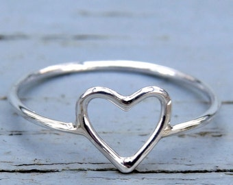 heart ring, minimalist ring, sterling silver ring, delicate ring, simple open heart ring, gift for her