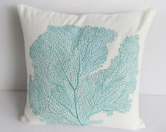 Offwhite coral fan pillow. Decorative aqua blue coral fan embroidery pillow   coastal pillow. Custom made to all sizes