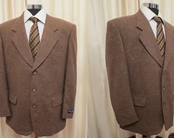 Vintage De Fendor Irmen Germany Brown Men's Tweed Wool Professor Jacket Sport Coat Blazer