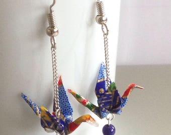 Earrings Origami crane - bleu