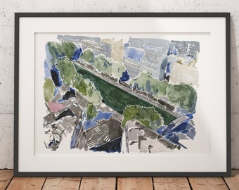 FRAMED Paris Watercolor Print Canal Saint-Martin Wall Art Giclee print