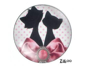 4 cabochons 16mm glass cat, pink and white