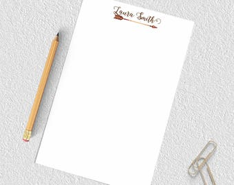 Arrow notepad, boho notepad, personalized notepad with calligraphy, arrow stationery paper, custom notepad, personalized notepad set