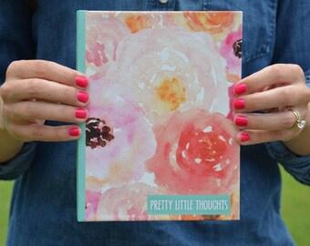Hardcover Journal | Prayer Journal | School Supplies | Watercolor Floral | Bible Journaling | Teal | Lined Journal | Notebook | Bound