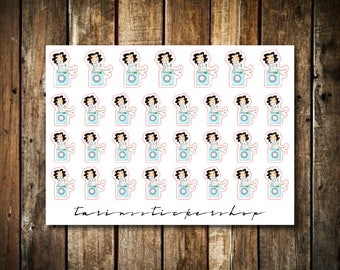 Laundry - Cute Brunette Girl - Functional Character Stickers