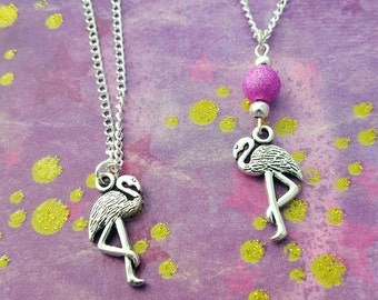 Flamingo Necklace, Tropical Jewellery, Flamingo Jewelry, Be A Flamingo, Bird Necklace, Pink Necklace, Summer Jewelry, Beach Necklace, Gift