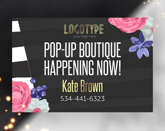 Black Yard Sign, Pop-Up Boutique Banner, Advertising, Boutique Yard Sign, Shop Lawn Sign, Fashion Retailer Sign, Personalized