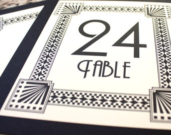 Art Deco Table Number Wedding Decor Sign Custom Great Gatsby Roaring Twenties Historical Reception Special Event