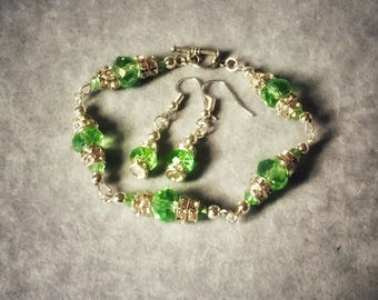 Green crystal and silver bracelet and earrings set