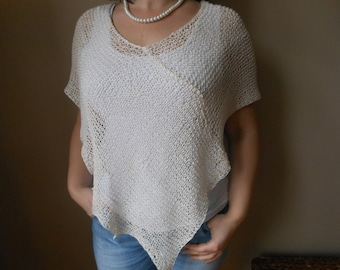 Hand Knitted Poncho Shawl Capelet Shrug Cream Cotton Loose Knit Summer Poncho