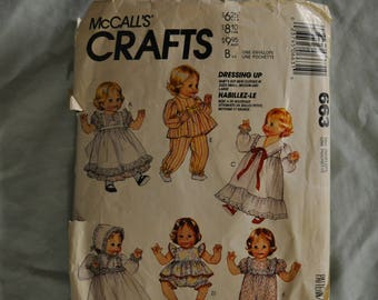 Doll Pattern - sizes Small/Medium/Large - Partially Cut- McCall's 663
