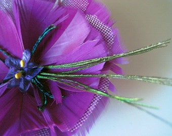 on SALE -- ADDISON series fascinator - no. 9 - handmade feather and tulle flower