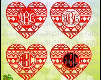 Aztec Heart Monogram Base Valentine's Day Digital Clip Art & Cut File High Quality 300 dpi Jpeg Png SVG EPS DXF Formats Instant Download