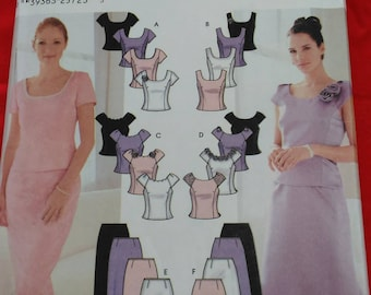 Simplicity #7173 Evening slim and flared skirts and lined top sewing pattern