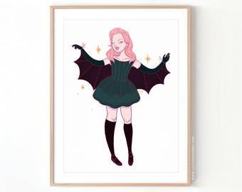 Bat Lady // Giclee Archival Matte Art Print
