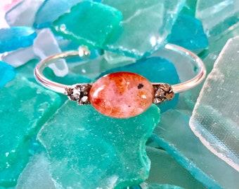 Sunstone and Crushed Pyrite Cuff Bracelet