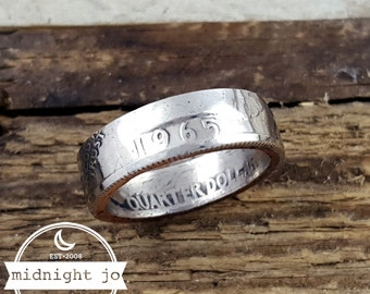 1965 Coin Ring - Double Sided Coin Ring - US Quarter Coin Ring - Liberty Coin Ring - Coin Jewelry - 1965 Jewelry - Birthday Gift for Him