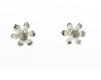 Sterling Silver Daffodil Stud Earrings