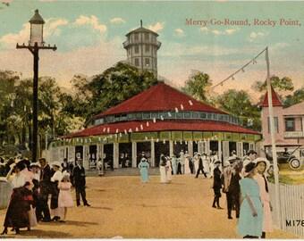 Vintage Postcard, Merry Go Round, Rocky Point, Rhode Island, ca 1910