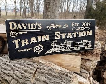 Train Station Sign Personalized Wooden Railroad Memorabilia Locomotive Lionel Train Model Train Steam Engine Train Train Decor Poplar 703