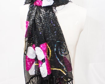 Sheer Black  Silk Shawl covered with Black Sequins and Pink Sequined Flowers with Gold Beaded highlights
