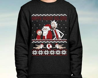 Rick and Morty - Happy Human Holiday - Christmas Jumper / Sweatshirt - Free UK Delivery