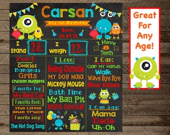 Monster birthday chalkboard, monster theme party, monster birthday poster, monster first birthday, second, third, monster party decor, print