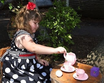 I'm A Little Tea Pot... Felt Pink and Purple Tea Set - tea party -strawberry - pretend play  - gift for girls