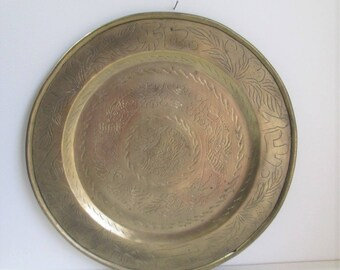 "Vintage Large Etched brass tray / Heavy 16"" diameter solid brass round tray with Asian design"