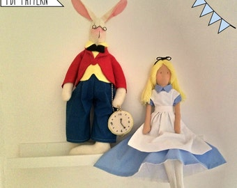 Pdf Sewing Pattern Alice and the white Rabbit-Cloth Doll E-Pattern-Free Shipping- Tutorial-Tags