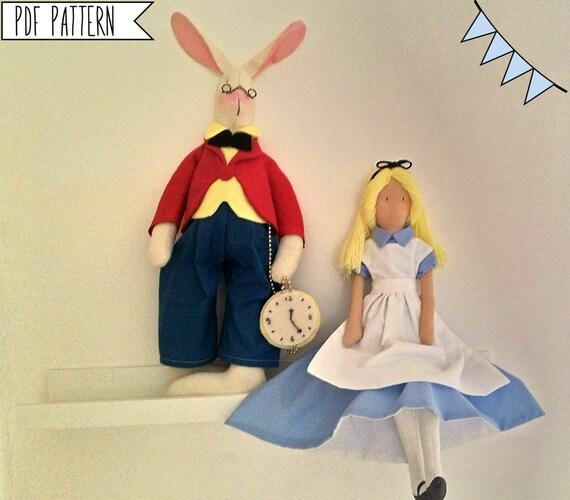 PDF-Nähen Muster Alice und der weiße Hase-Tuch Puppe
