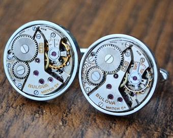 Bulova Silver Watch Movement Cufflinks - Steampunk Vintage Wedding Groom Gift Mens Christmas Present