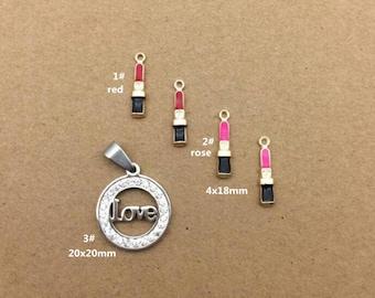 10PCS, Enamel Charm, Lipstick Charm, White Love Pendant, Jewelry Charm, Craft Supplies, Gold Tone