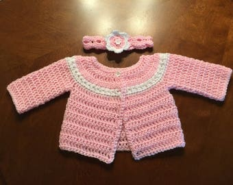 Crochet Baby Sweater Set, Baby Gift