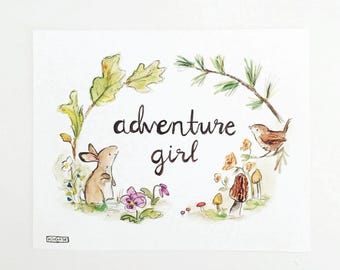 Forest nursery, woodland art, Woodland Adventure Girl, giclée print, Kit Chase artwork, 5x7, 8x10, 11x14