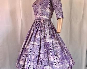 1950's Alfred Shaheen Silk Chinoiserie Print Dress Sz. M