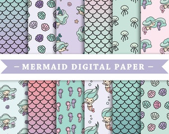 Premium Digital Paper - Scrapbooking Paper - Kawaii - Mermaid - Cute Mermaids - Patterns - Patterned Digital Paper - Printable Paper Set