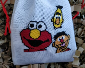 Exclusive Handmade Embroidered Sesame Street Bags/100 %  Cotton Bags/Unique Embroidered Sesame Street Bag