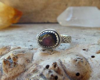 Watermelon Tourmaline & sterling silver ring // Size .75 // Handmade // Tourmaline jewelry