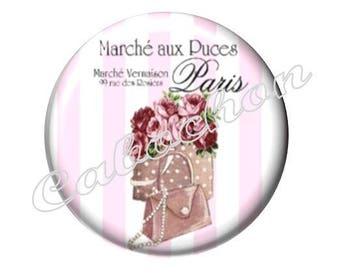 1 cabochon 30mm glass, fashion bag, your pink