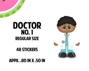 Male Doctor Dark Skin Stickers | 48 Kiss-Cut Stickers | OB-GYN, Male Doctor, PA,  Medical | CA066