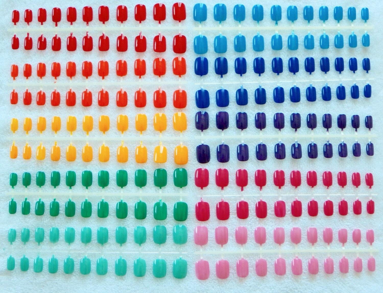 Regenbogen-Nägel 10 Sätze von Extra klein Regenbogen drücken