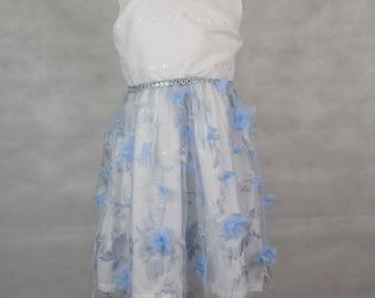 Blue 3D floral dress