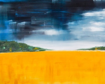 Rural Semi-Abstract Landscape Yellow Field Painting with Stormy Sky 50 x 70 cm
