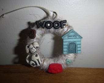 Dog Ornament / Christmas Ornament / Mini Wreath Ornament